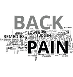 Back pain remedies text word cloud concept vector