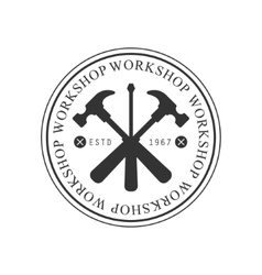 Crossed Hammers And Screwdriver In Round Frame vector image vector image