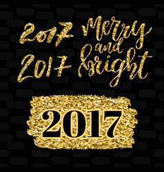 merry and bright lettering and numbers 2017 vector image