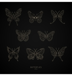 Set gold butterflies geometric shapes vector image vector image