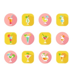 icons of tropical cocktails vector image vector image