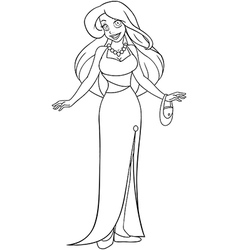Woman In Evening Dress Coloring Page vector image vector image