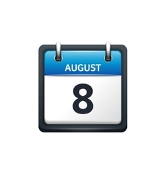 August 8 Calendar icon flat vector image vector image