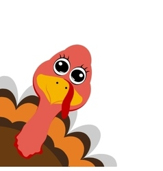Funny turkey peeking sideways on Thanksgiving Day vector image vector image