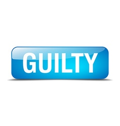 Guilty blue square 3d realistic isolated web vector