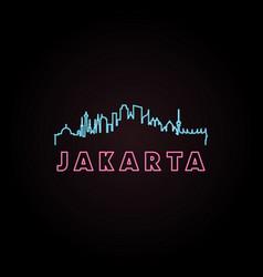 jakarta skyline neon style vector image