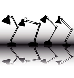 silhouettes of the four table lamps vector image vector image