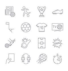 Soccer icons set editable stroke vector