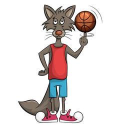 sweet wolf plays in a basket vector image vector image