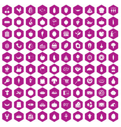 100 natural products icons hexagon violet vector image
