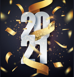 2021 happy new year background with golden vector