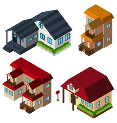 3d design for houses in different style vector image