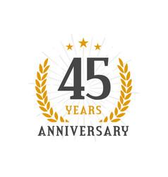 45 years anniversary golden laurel wreath logo vector image