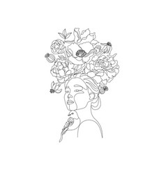 abstract face with flowers line art flower head vector image
