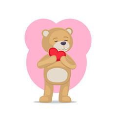 Adorable teddy gently holds heart head lovely bear vector