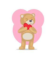 adorable teddy gently holds heart head lovely bear vector image