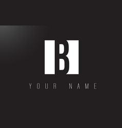 b letter logo with black and white negative space vector image