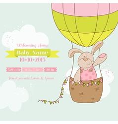 Baby shower card - bunny with air balloon vector