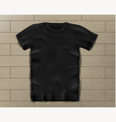 Black realistic slim male t-shirt blank t-shirt vector