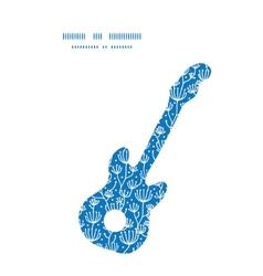 Blue white lineart plants guitar music vector