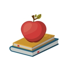 Book and red apple icon vector