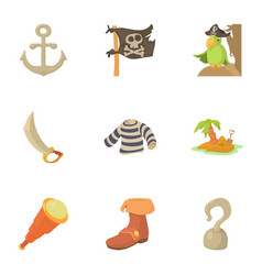 Buccaneer icons set cartoon style vector