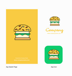 burger company logo app icon and splash page vector image
