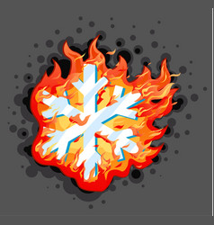 Burning snowflake vector