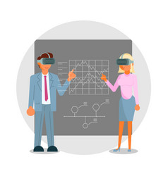 Business people in headsets touching vr interface vector