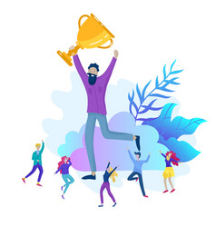 business team success hold golden winner cup vector image
