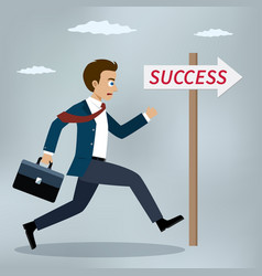 businessman running to success vector image