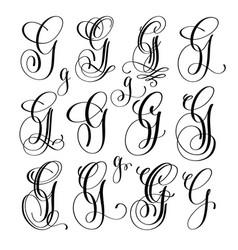 Calligraphy lettering script font g set hand vector