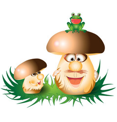 cartoon funny mushrooms vector image