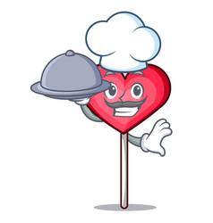 Chef with food heart lollipop mascot cartoon vector