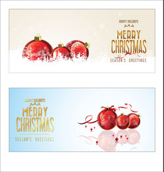 christmas background red balls with decorations vector image