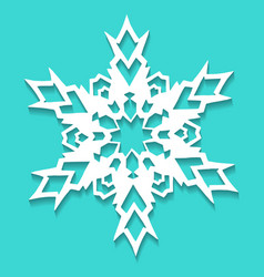 christmas paper snowflake on blue background vector image