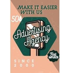 Color vintage advertising agency banner vector