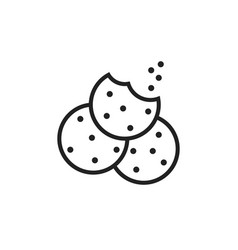 cookie flat icon chip biscuit dessert food vector image