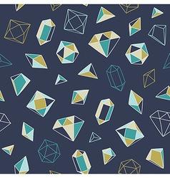 Crystal heart - seamless pattern vector
