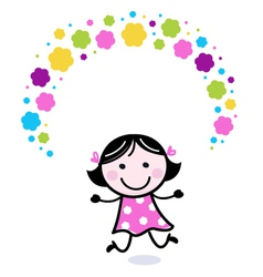 Cute doodle girl juggling with flowers vector image