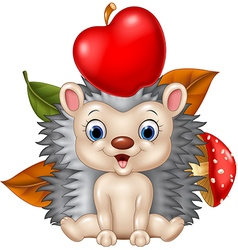 Cute hedgehog sitting with apple vector