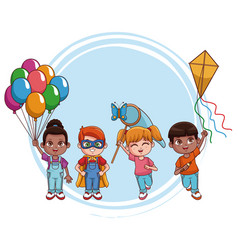 Cute kids cartoons vector
