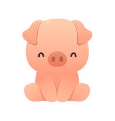 Cute pig cartoon sitting on white vector