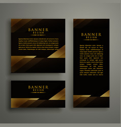 dark premium golden template banner card design vector image
