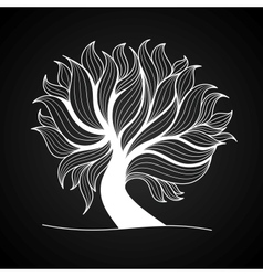 Doodle tree black and white color vector