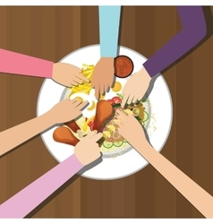 Eat together many hands one plate food view from vector