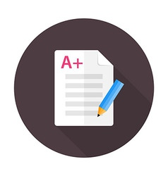 Exam preparation flat circle icon vector