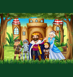 Fairytale characters at the palace vector