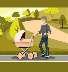 father with toddler in the pram in park vector image