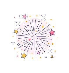Festive burst firework icon in line art vector